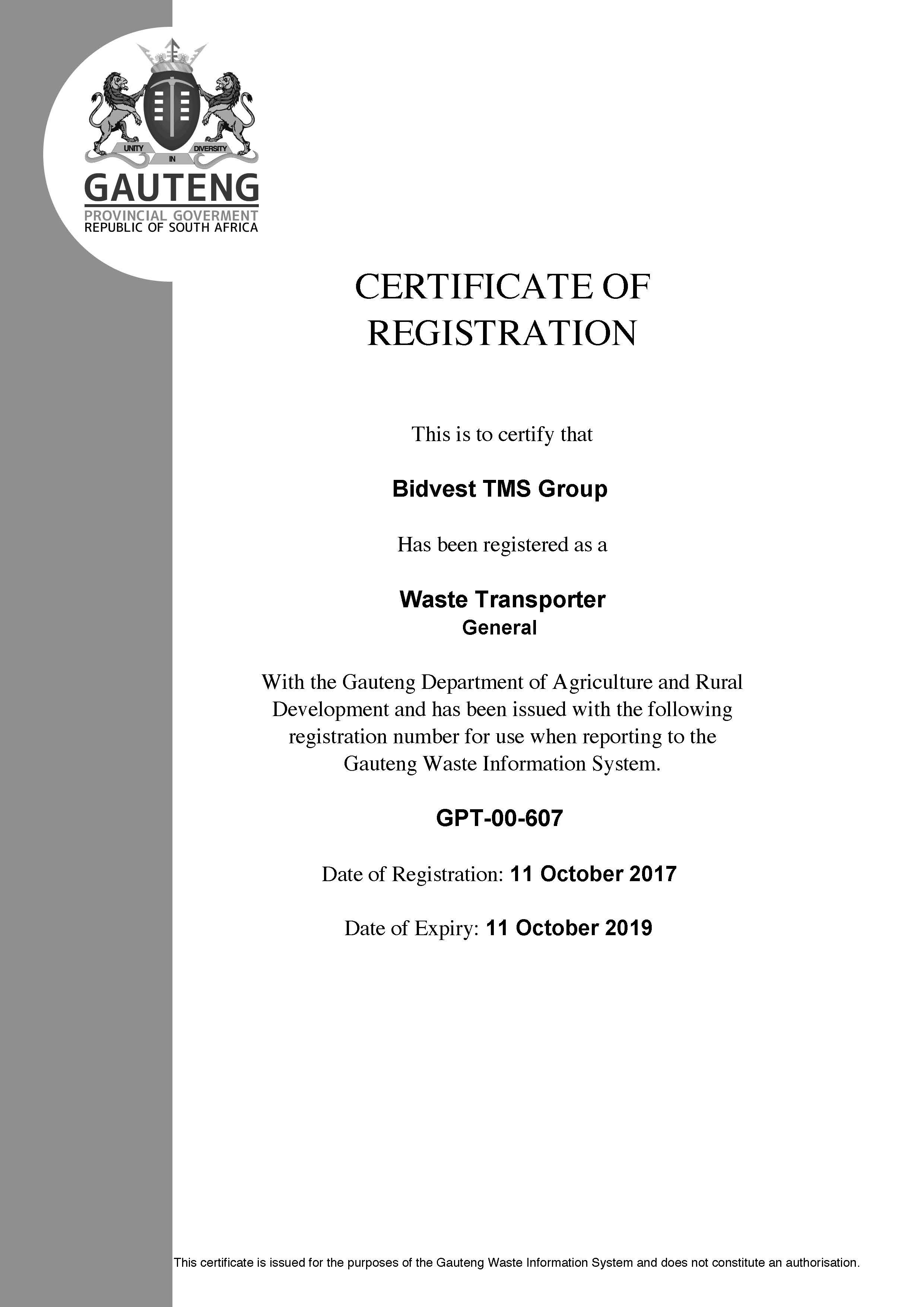 Bidvest TMS Group Vaal