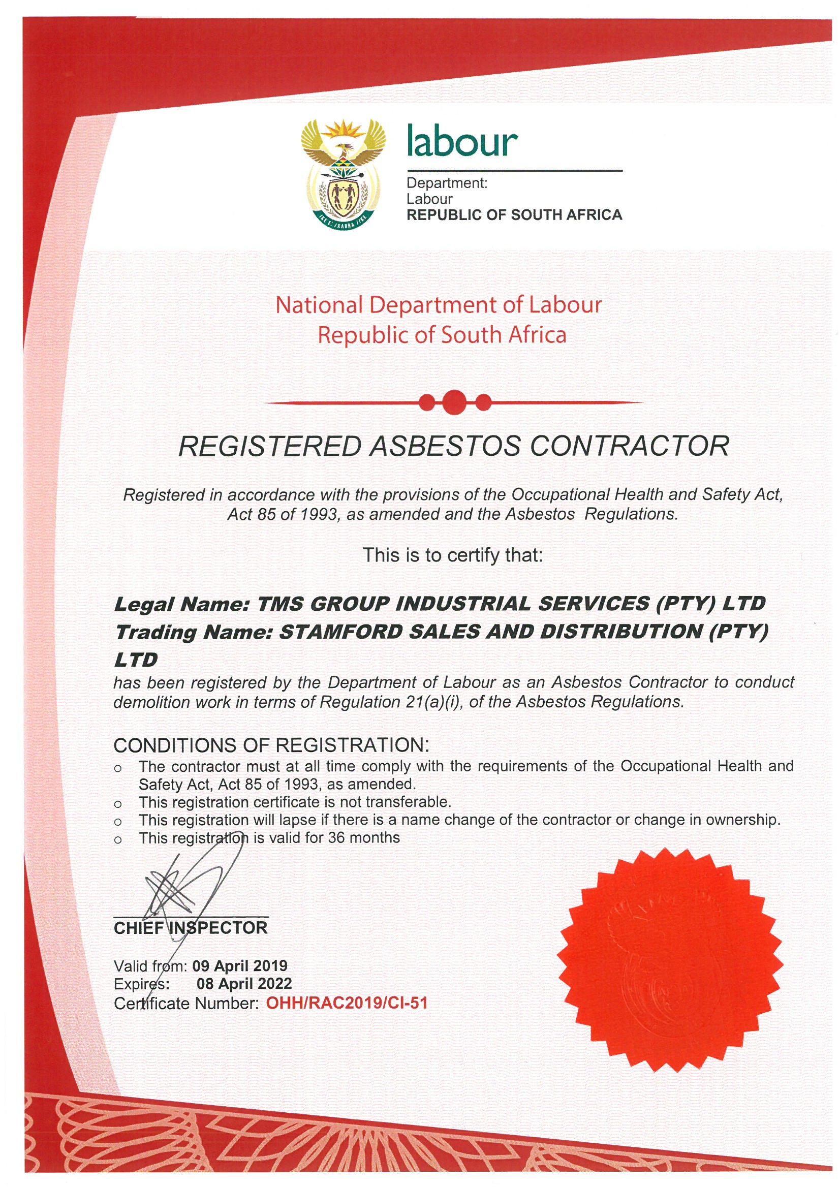 Asbestos Certificate