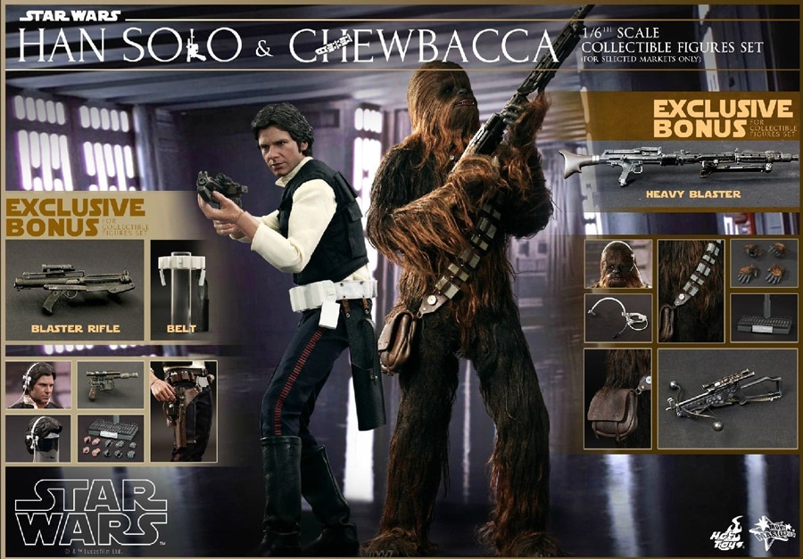 Star Wars Collectible 12 Inch Action Figure Movie Masterpiece Series 1/6 Scale - Han Solo and Chewbacca Set Hot Toys 902268