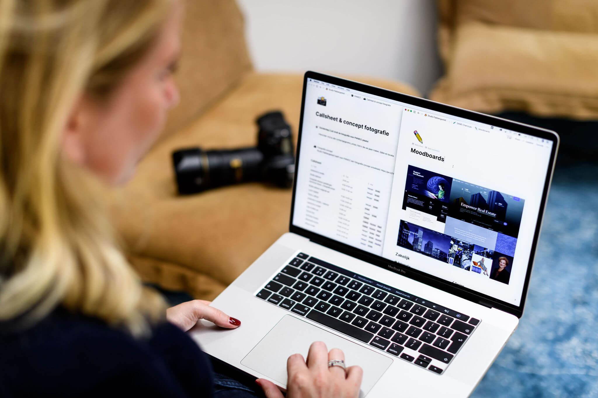 Fotograaf maak moodboard voor productfotografie