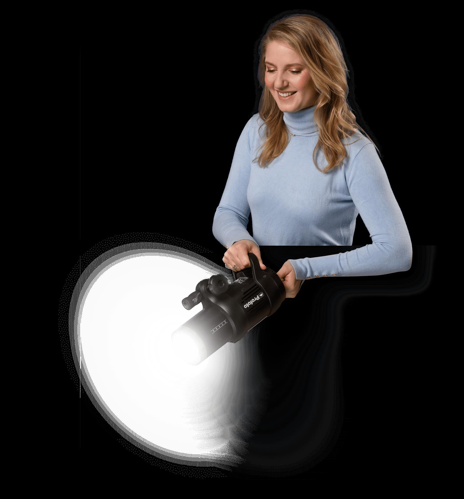 Margot de Heide met fotografielamp