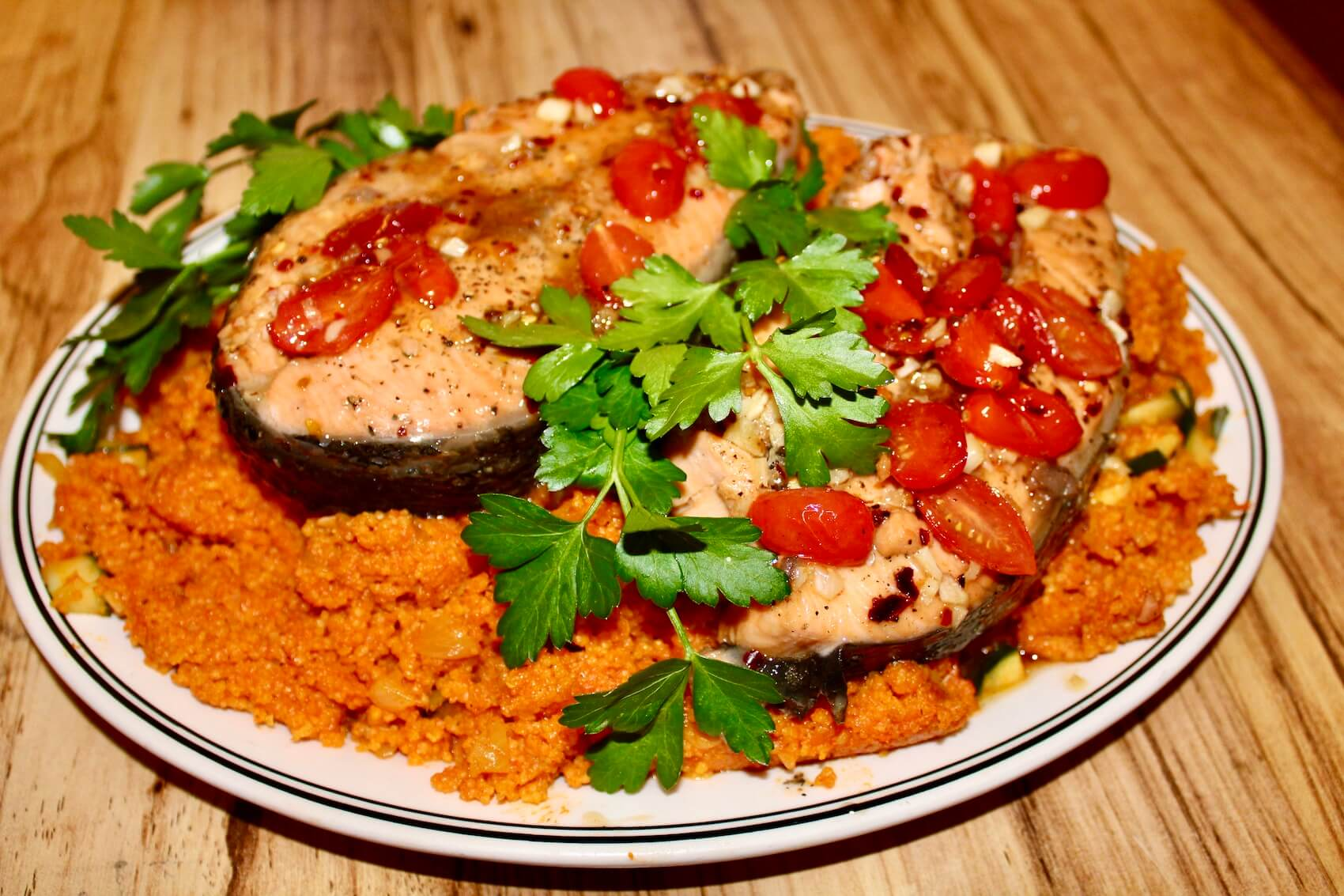 Sweet and Savory Salmon Steaks over Couscous