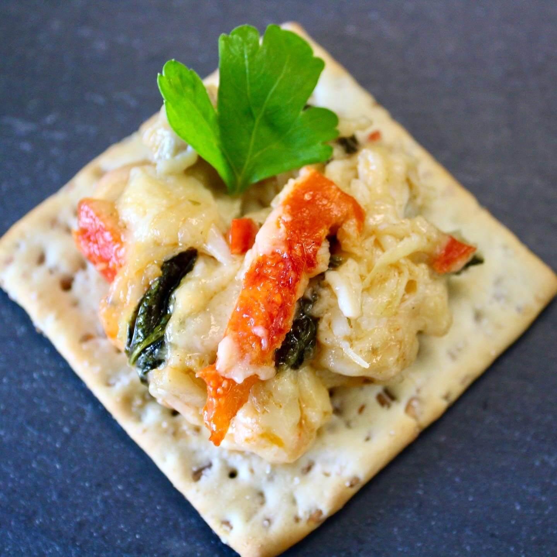 King crab dip on a cracker