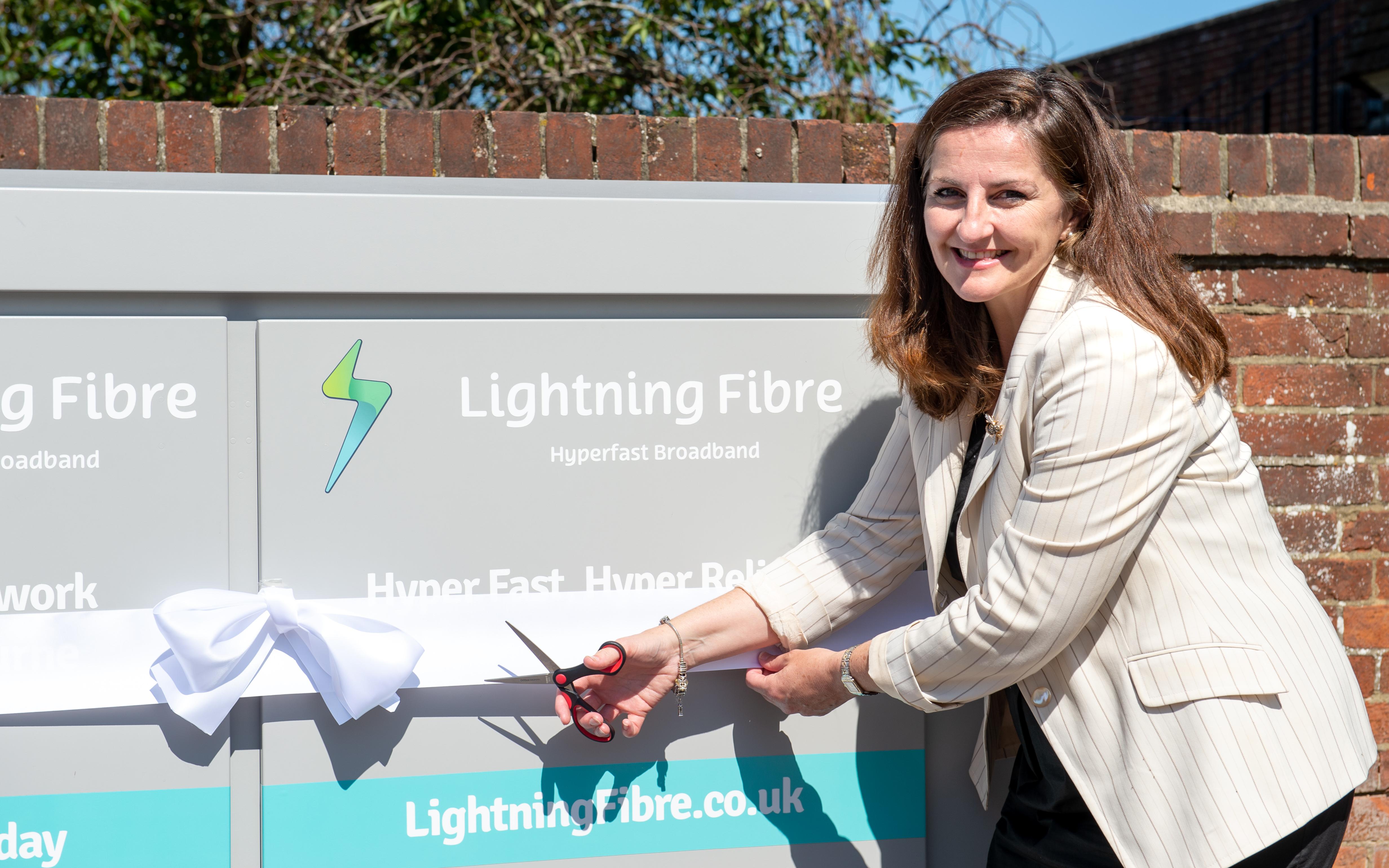 Caroline Ansell, Eastbourne MP unveils Lightning Fibre's latest Full Fibre broadband area, Old Town