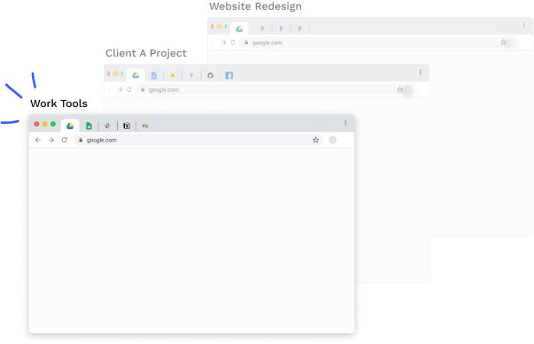 Context switching with Partizion collections: a faster and easier way to manage tabs.