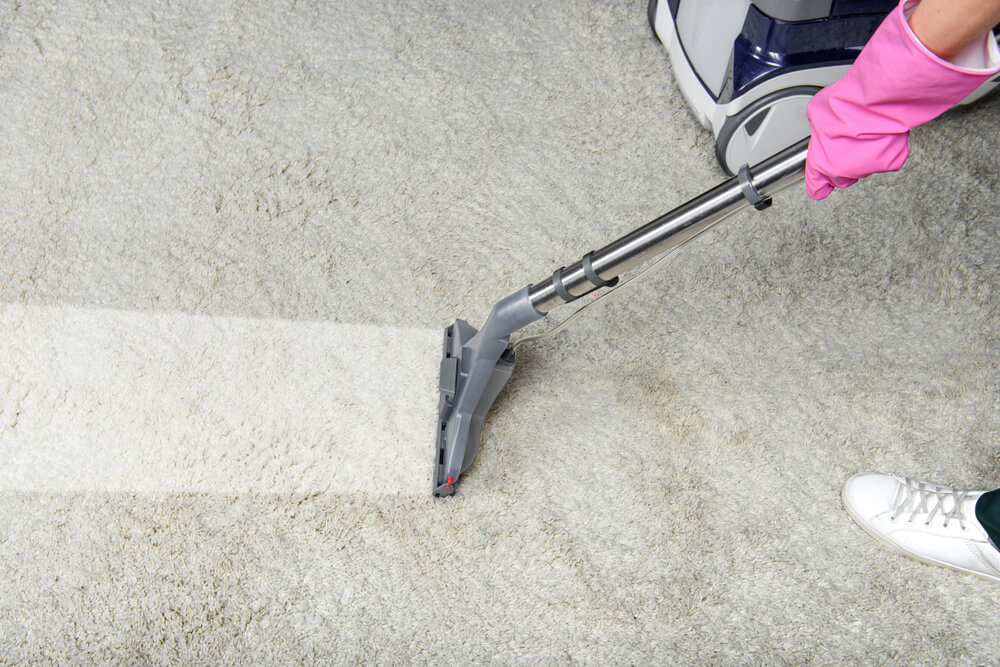 lady professionally cleaning beautiful white carpets at home