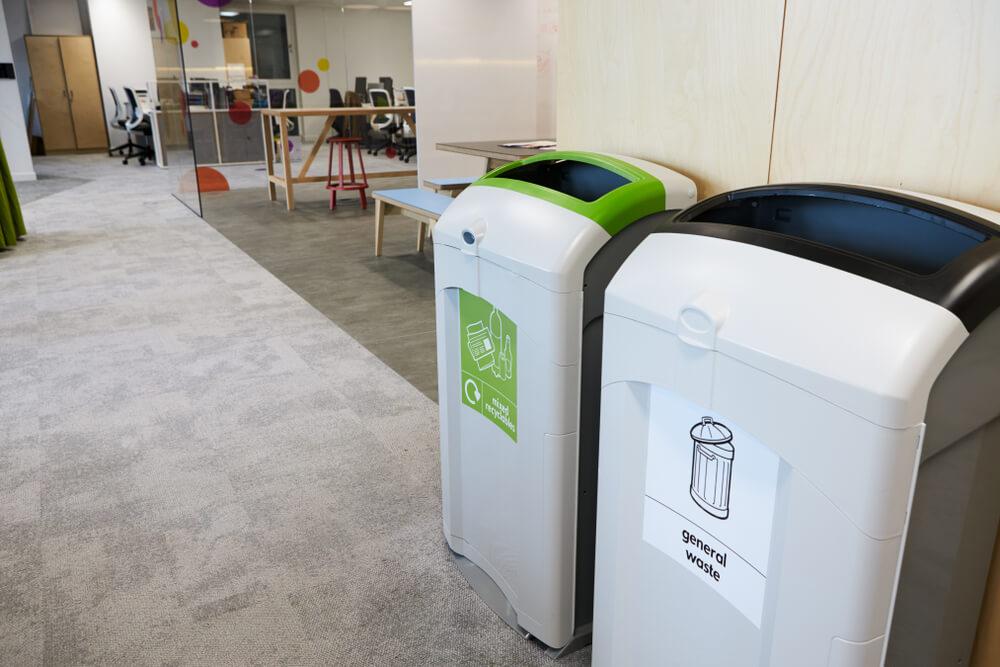 recycling bins in a modern office