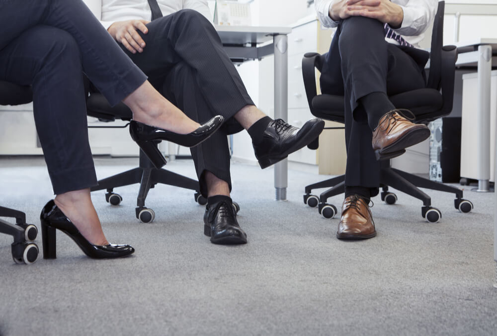 office meeting on a faded commercial carpet