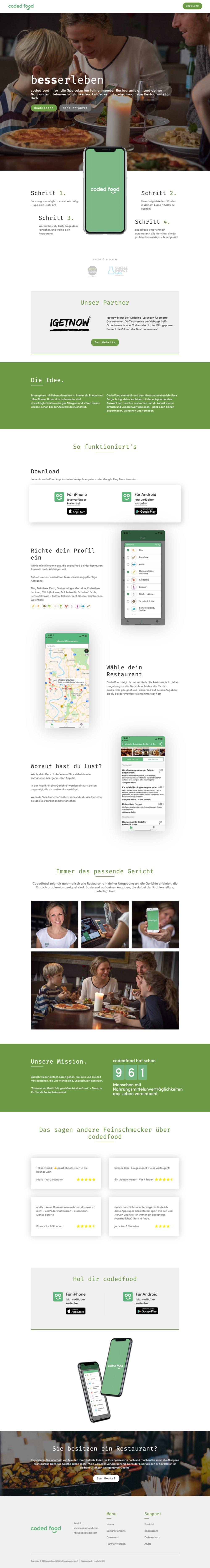 Webdesign Beispiel codedfood.com