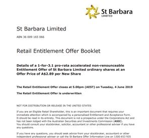 St Barbara Limited Entitlement Offer