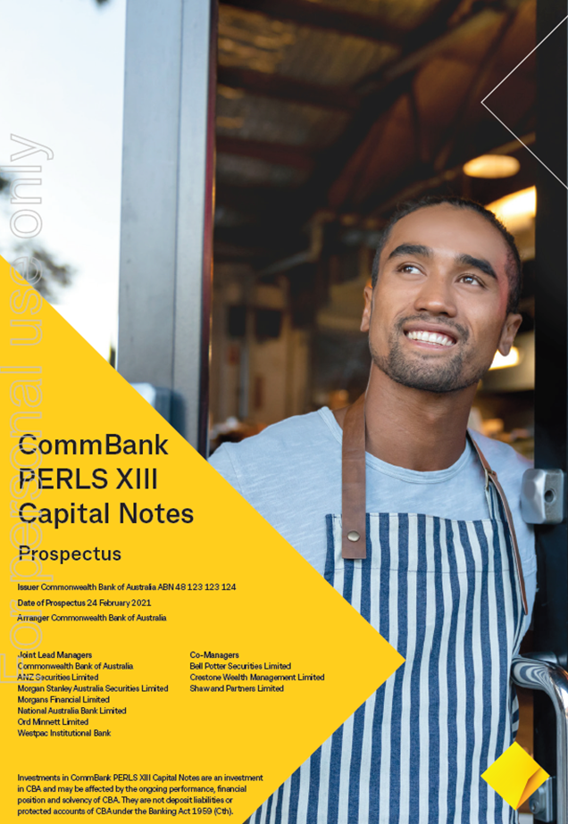 CommBank PERLS XIII Capital Notes IPO