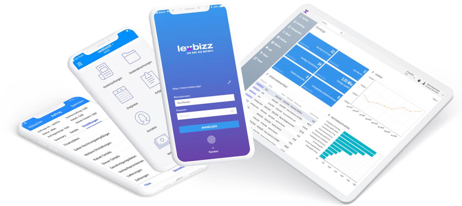 lexbizz Warenwirtschaftssystem Bildschirme Mobil