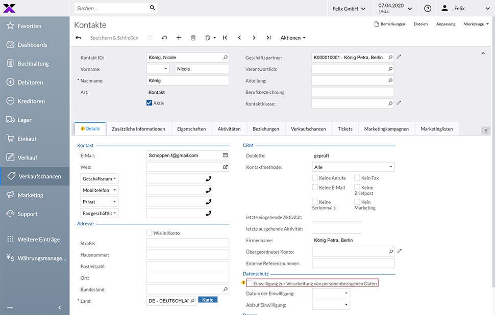 lexbizz CRM Dashboard Kontaktverwaltung