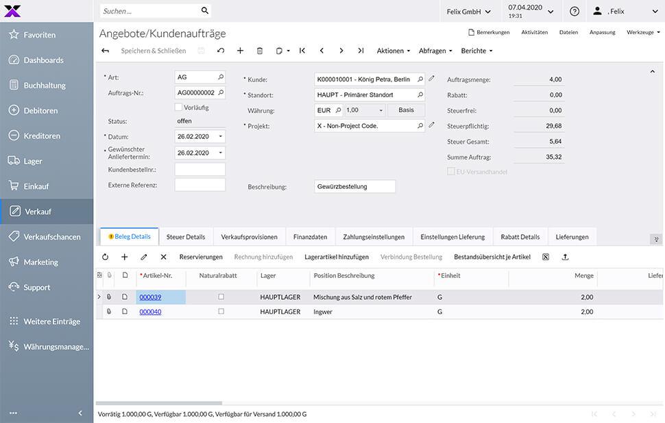 lexbizz Warenwirtschaft Dashboard Verkauf Angebote/Kundenaufträge Beleg Details