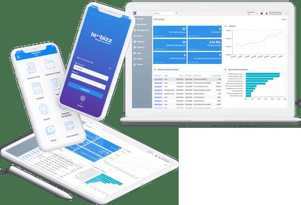 lexbizz Interface auf Smartphone, Tablet und Laptop