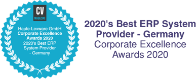 Corporate Vision Magazin Haufe-Lexware GmbH Corporate Excellence Awards 2020 2020 Best ERP System Provider - Germany