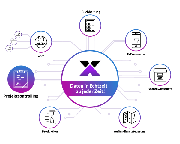 lexbizz Projektcontrolling - alle Daten in Echtzeit - Grafik
