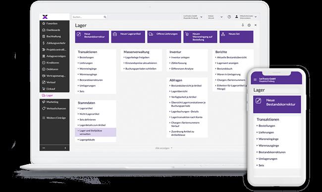 lexbizz Warenwirtschaft - Screen Desktop + Mobil