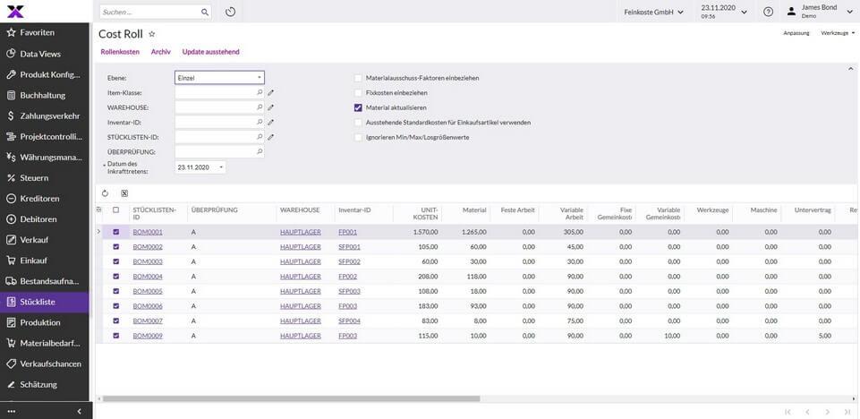 lexbizz Produktion - Kostenvorkalkulation Screen