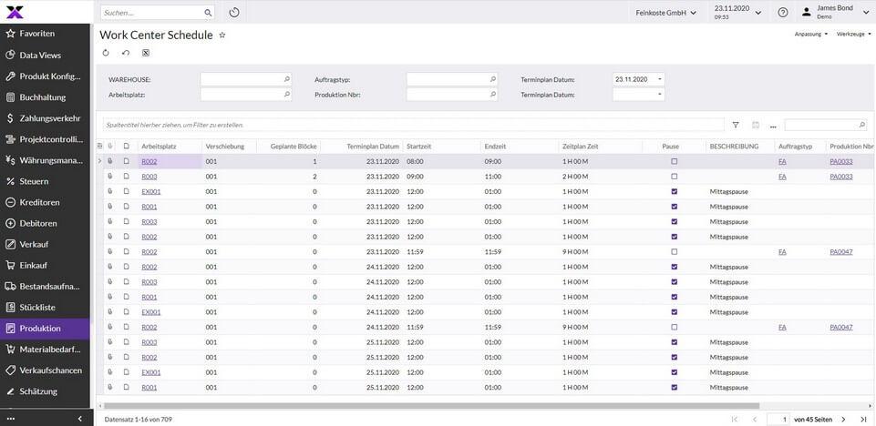 lexbizz Produktion - Fertigungssteuerung Screen