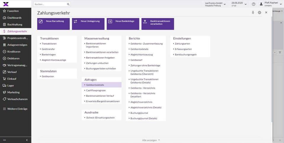 lexbizz Buchhaltung - Zahlungsverkehr Screen