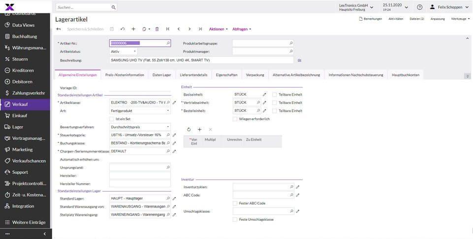 lexbizz Warenwirtschaft - Produk- Artikelverwaltung Screen