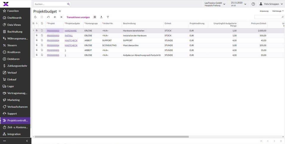 lexbizz Projektcontrolling - Zeit- und Kosten Screen