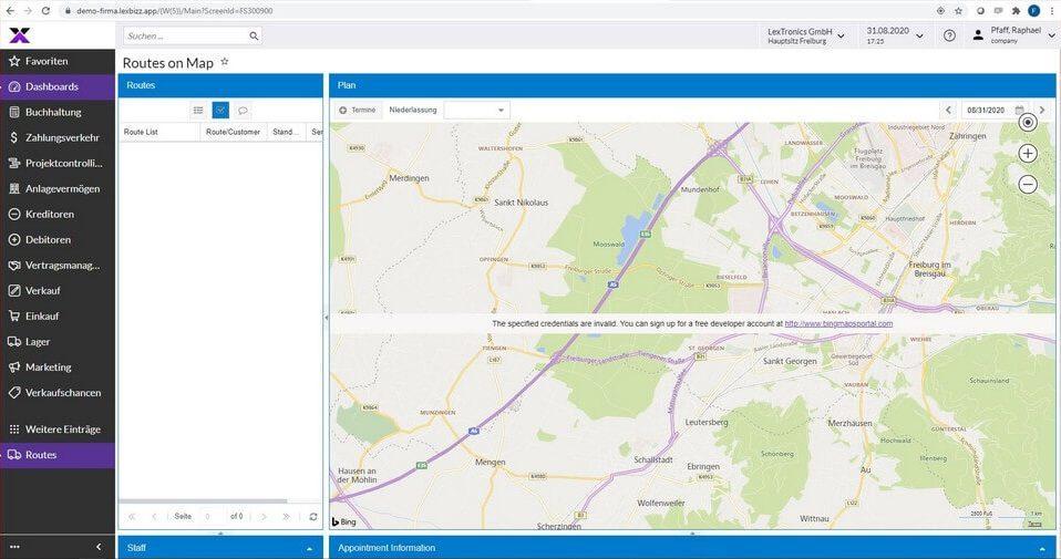 lexbizz Aussendienst - Routenplanung Screen