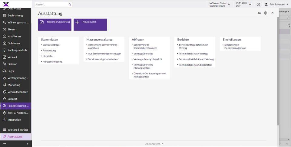 lexbizz Aussendienst - Service -Ausrüstung Verwaltung Screen