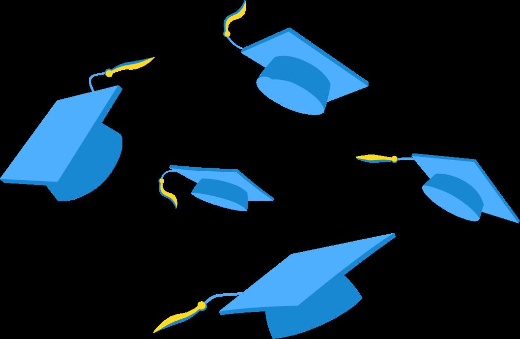 illustration of graduation caps
