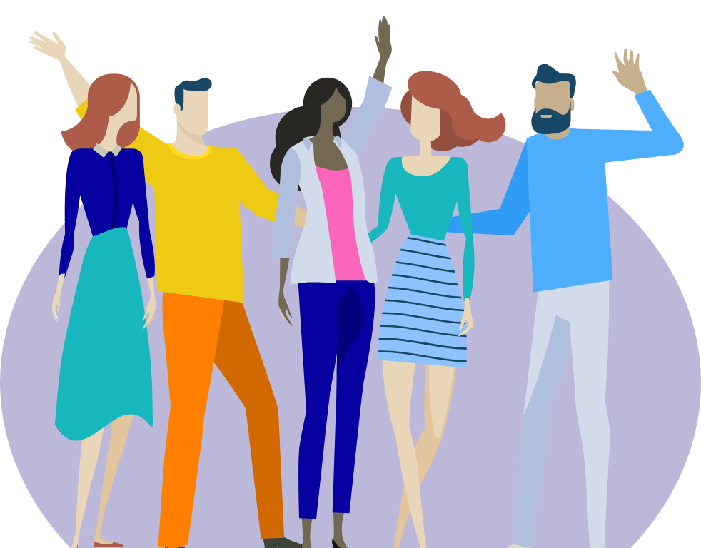 Illustration of a group of friends