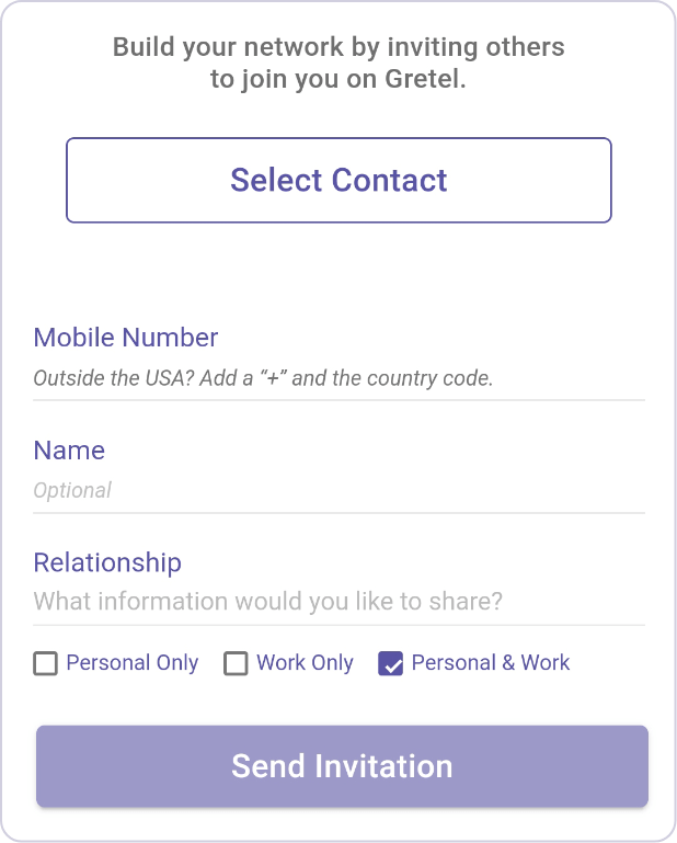 App screen showing inviting contacts