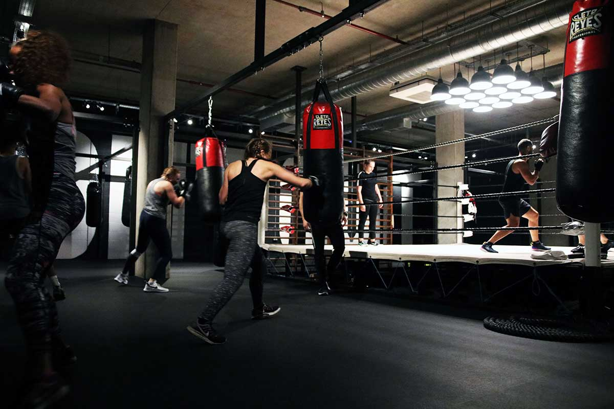 people working out in boxing gym