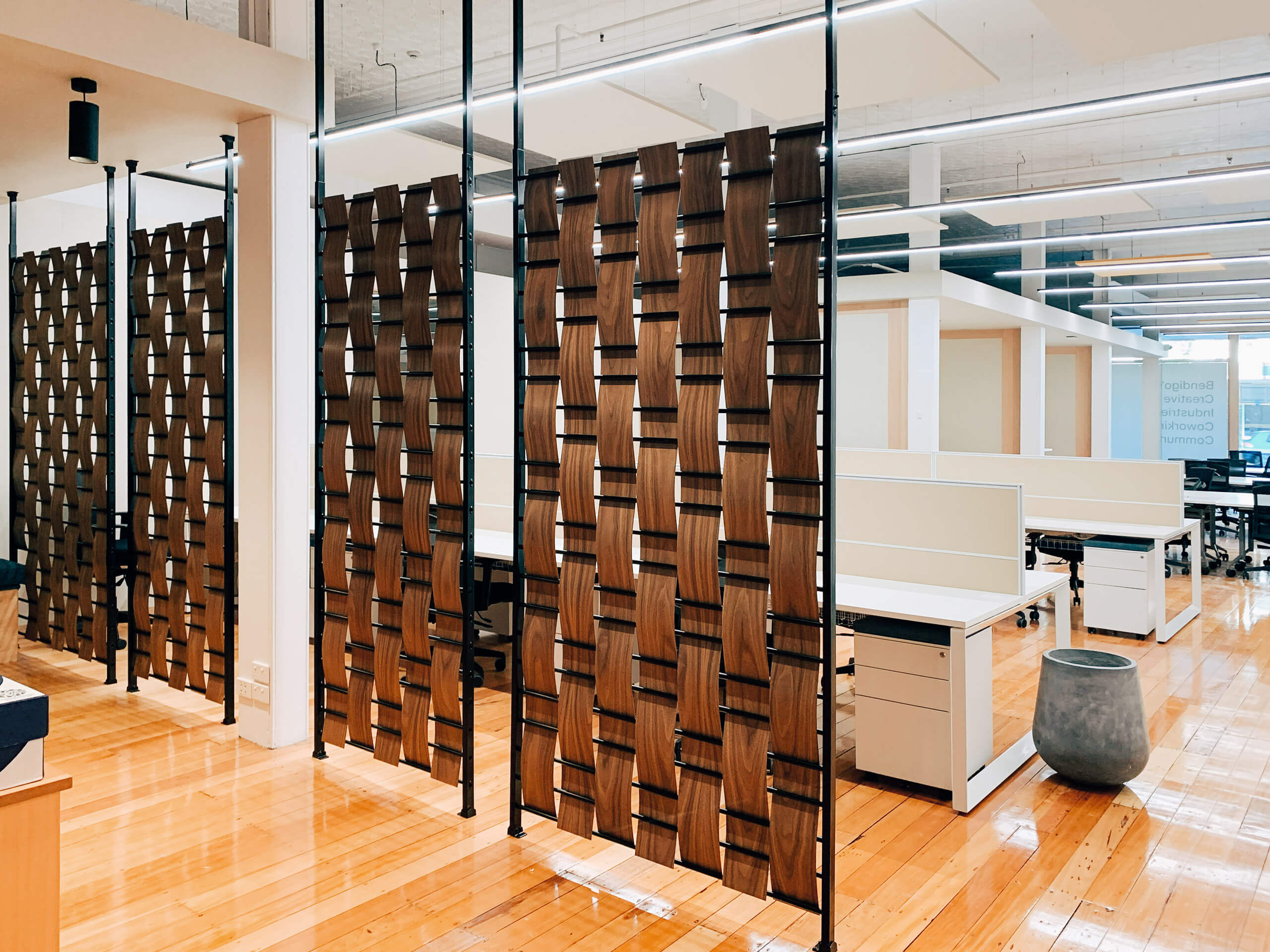 Decorative Screens Into Coworking Space