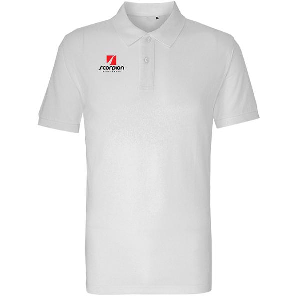 Scorpion White Cotton Polo Shirt