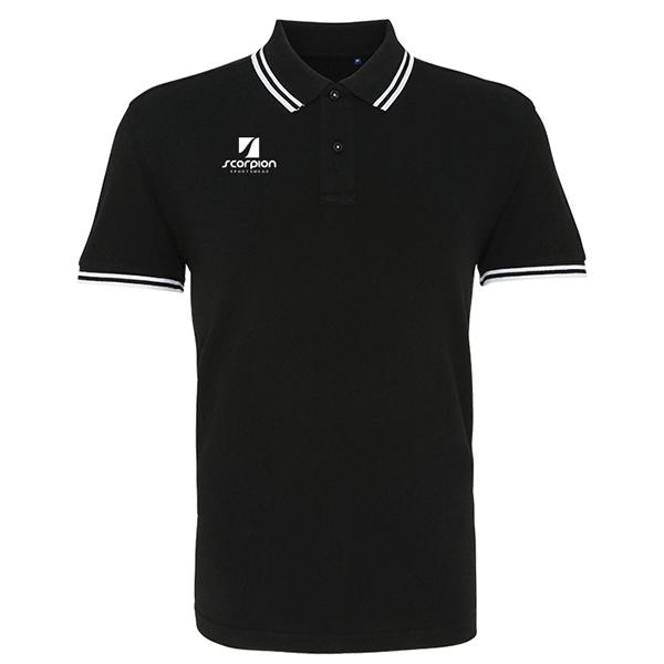 Scorpion Black White Tipped Polo Shirt