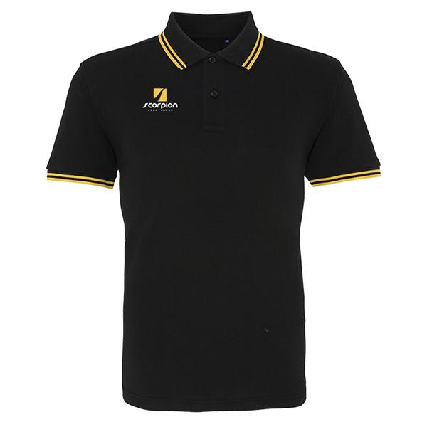 Scorpion Black Yellow Tipped Polo Shirt