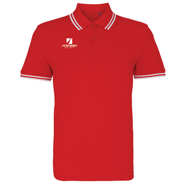 Scorpion Red White Tipped Polo Shirt
