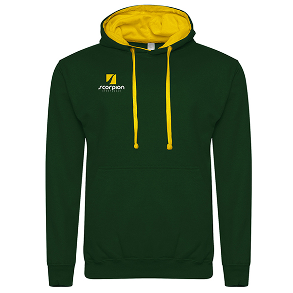 Rugby Tour Hoodies Bottle Green Yellow