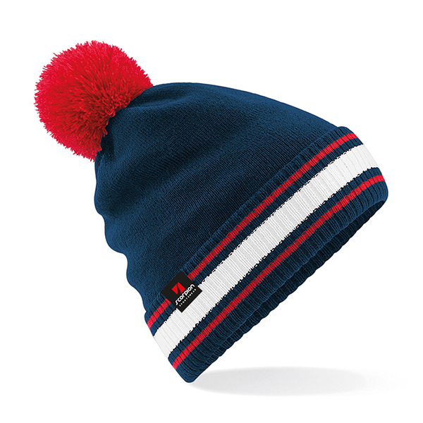 Scorpion Navy White Red Bobble Hat