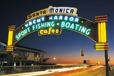 Santa Monica Pier sign.