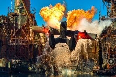WaterWorld® show with a plane on fire