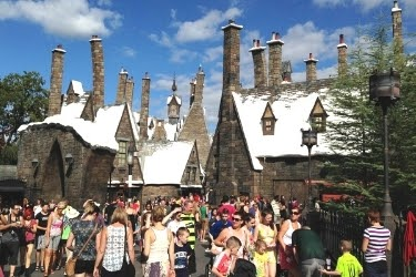 View of Hogsmeade™ with a lot of people