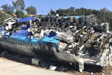 Crashed airplane scene during the Studio Tour