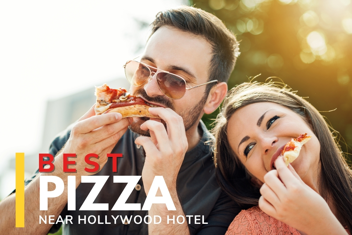 Couple eating pizza outdoors - Best Pizza near Hollywood Hotel