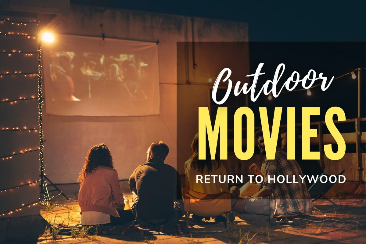 People watching a movie at the rooftop - Outdoor Movies Return to Hollywood