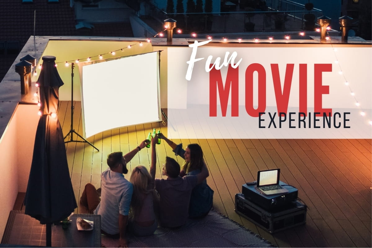 Fun Movie Experience - People watching movie on a rooftop