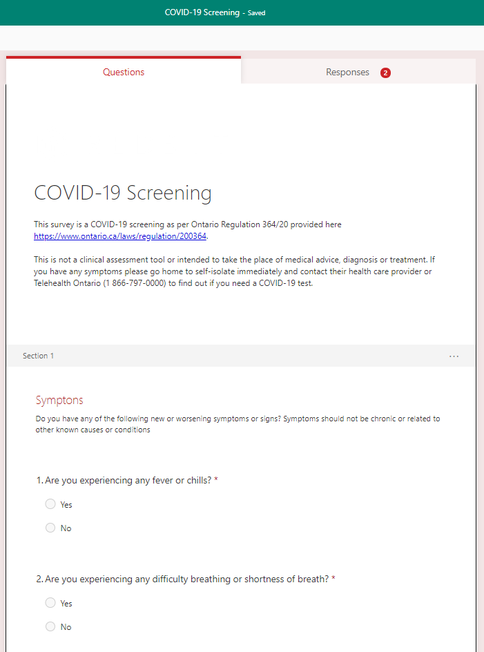 Microsoft forms setting up covid-19 survey