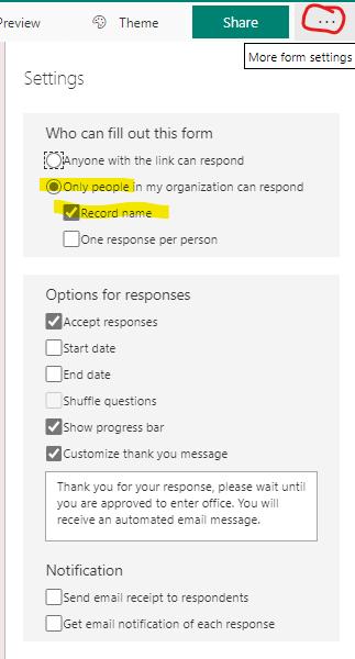 Microsoft forms survey settings