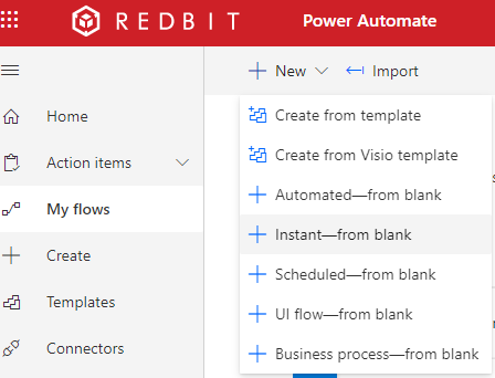 Create instant power automate